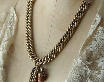 Assemblage Necklace Antique Watch Chain Sunstone Nuggets Goldstone  Jug Charm Lavaliere Victorian Style Statement Piece Vintage