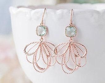 Aqua Blue Rose Gold Dangle Earrings Aquamarine Aqua Wedding Bridal Earrings  Bridesmaid Earrings Rose Gold Wedding Jewelry Bridesmaid Gift