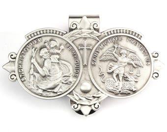 Visor Clip Saint Christopher & Saint Michael Medals