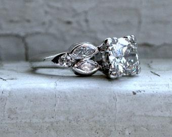 Vintage Platinum Diamond Engagement Ring with EGL Cert- 1.26ct