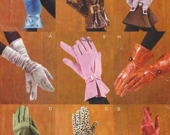 Womens Gloves Gauntlet Glove, Evening Length Gloves, 9 Styles of Misses Gloves OOP Vogue Sewing Pattern V0638 7949 Size S M L UnCut