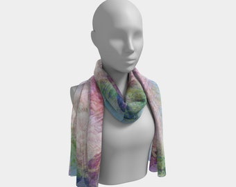 Spring Scarf Soft Colors Printed Scarf Long Chiffon Scarf Fashion Scarf Summer Scarf Delicate Scarf Lightweight Scarf Gift for Her Teacher