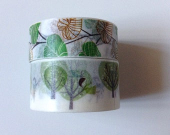 WS-046 | 24in White and Green Washi Tape Sample - trees, children, playing, leaves, brown