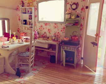 MADE TO ORDER | Dollhouse miniature camper | Shabby chic style camper | 1 inch - 1/12 scale
