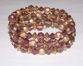 Purple Glass Matte Golden Czech Glass Wrap Bracelet