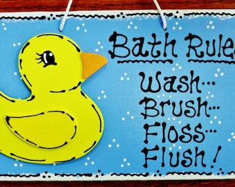 RUBBER DUCKY Bath Rules Bathroom Sign Kidu0027s Duck Plaque Handcrafted Country  Wood Crafts Wood Wooden