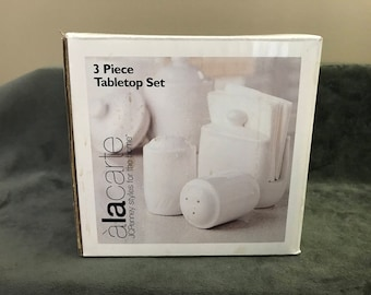 ALA CARTE JCPenney 3-Piece Tabletop Set, Napkin Holder and Salt & Pepper Shakers, White Tabletop Pieces, Made in Taiwan