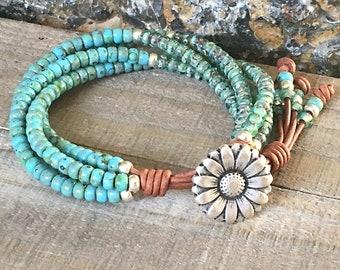 Seed Bead Leather Wrap Bracelet/ Beaded Wrap Bracelet/ Gift For Her/ Bohemian Wrap Bracelet/ Beaded Leather Wrap/ Boho Wrap Bracelet.**