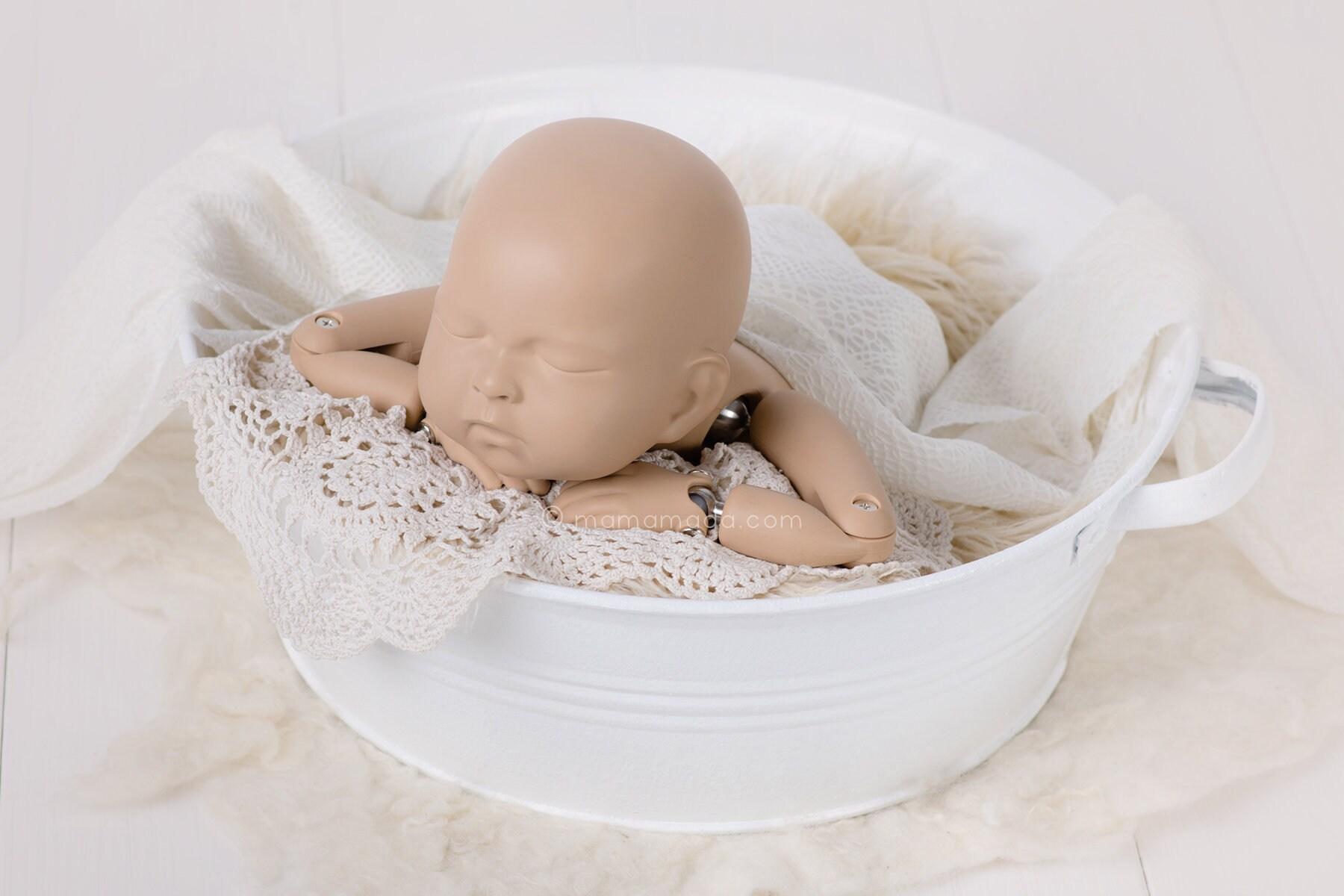 Washtub white newborn props newborn posing stool baby