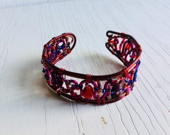 Red wirework bracelet