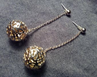 Silver 925 Dangley Ball Pierced Earrings