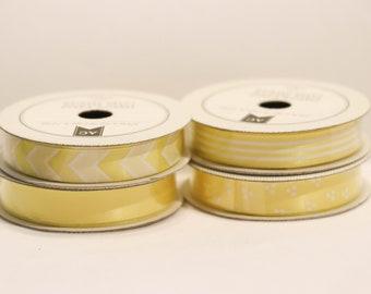 yellow ribbon, ribbon set, ribbon, yellow dotted ribbon, zig zag ribbon, ribbon set, stripped ribbon, yellow, yellow chevron