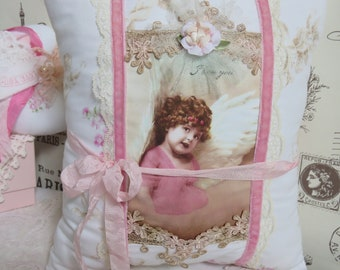 Antique Angel Girl Postcard Keepsake Pillow, I Love You, Vintage and Venice Lace, Roses Fabric, Velvet, Mothers Day Gift, FREE USA Shipping