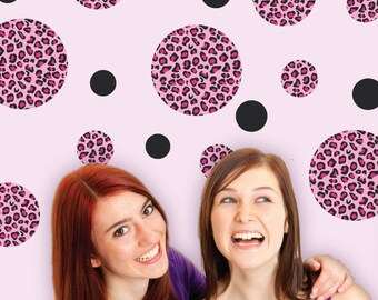 Pink Leopard Print Dot Wall Decals, Removable & Reusable