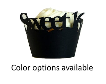Sweet 16 Cupcake Wrappers, Set of 12, Cupcake Decor, Handcrafted Party Decor