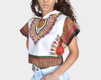 Mena Mode Hoodie in Ankara Fabric Crop Top in Dashiki Red and White