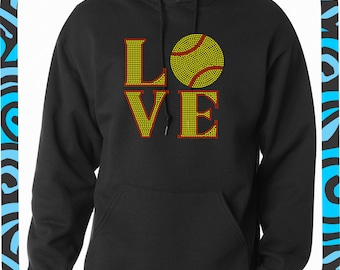 Softball LOVE BLING Hoodie//Softball Rhinestone Hooded Sweatshirt
