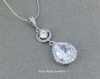Bridal Necklace Cubic Zirconia Necklace Bridesmaid Jewelry Gift for Her Crystal Necklace Pendant Necklace Bridal Jewelry Wedding Necklace