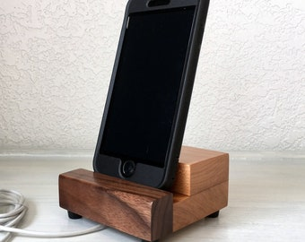 iPhone dock, charging stand, wood phone stand, bedside phone charger, Samsung, Android, universal stand, iPhone 8, iPhone 7, iPhone plus.