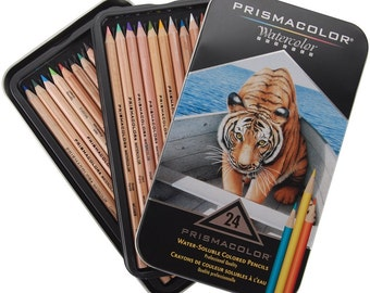 PRISMACOLOR WATERCOLOR PENCILS -24 PENCILs with Instructions in a Great Storage Tin ! Premier