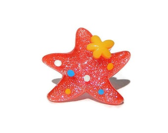 Starfish Ring, Red Star, Kawaii Glitter Adjustable Ring