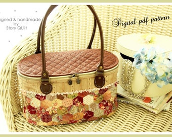 DIY Digital pdf bag pattern Hexagon Patchwork Quilted Basket Bag / handbag / tote bag/ shoulder bag / tutorial