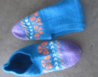 Lovely pair of hand knitted slippers. for woman or young girl