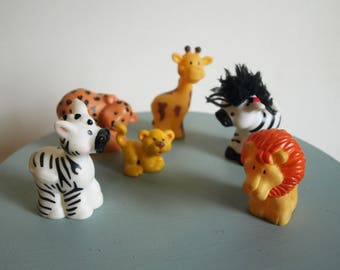 Fisher Price Little People Safari Animals – Lot of 6 – Lion, Tiger, Cheetah, Giraffe, and Two Zebras