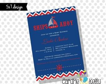 Printable 5x7 Nautical Patriotic Sailboat Yacht Baby Shower Invitation- Printable Digital File
