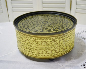 Vintage Guildcraft Tin Gold and Black Footed Metal Tin Hollywood Regency Decor Sewing Box PanchosPorch