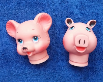 Vinyl Toy Heads Pig and Mouse 1970s Toy Making Supply 3 inch.