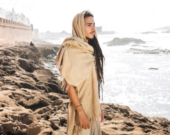 Raw Silk Shawl ~ Camel brown ~ for Men & Women