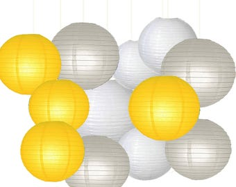 12pcs Mixed Yellow Gray White Paper Lantern Lamp Shades for Baby Shower Nautical Wedding Birthday Party Decoration