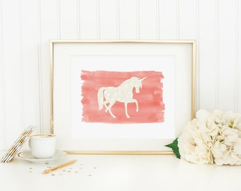 Unicorn Printable Nursery Unicorn Decor Unicorn Wall Art Coral Nursery Decor Paint Stroke Girl Nursery Wall Art Playroom Decor Magical Decor