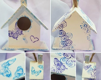 Hand painted wood bird house hanging decoration twiggy tree