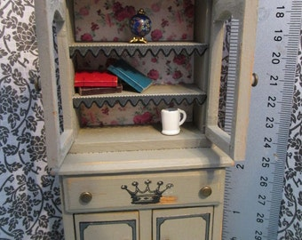 OOAK 1:12 scale dollhouse miniature Shabby chic - French Country Chic cabinet with accessories - dollhouse country cabinet shabby chic decor