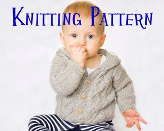 PDF Knitting Pattern - Silver Birch Hooded Cardigan, Infant Sweater, Baby Toddler Knitting Pattern, Cabled sweater pattern