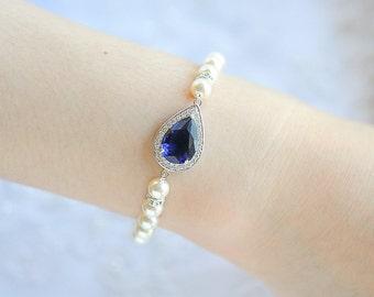 Bridal Bracelet, Blue, Pink, Purple Crystal Bracelet, Teardrop Bracelet, Swarovski Pearl Bracelet, Wedding Bracelet, Bridal Jewelry, FAYE