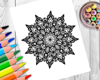Adult Coloring Pages. Lotus. Mandala. Zentangle Doodle Coloring Book Page for Adults. Digital illustration. Instant Download Print.