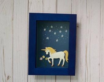 Unicorn Wall Art, Girls Room Decor, Gift for Teen, Teen Unicorn Wall Decor, Mixed Media Wall Art, Shadow box Art,