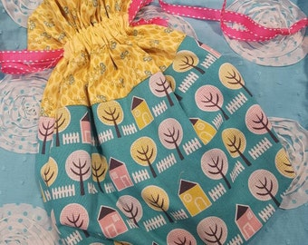 Project Bag - Turquoise House & Yellow Flowers