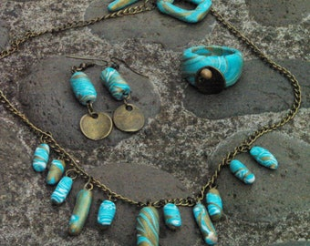 Set turquoise blue and bronze polymer clay