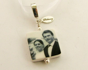 Bridal Bouquet Photo Charm - Small Personalized Memorial Photo Pendant - BC3