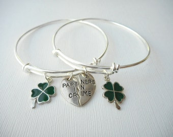 2 Partners in Crime, Four Leaf Clover- Best Friend Bracelets/ In crime jewelry, in crime bracelet, bff jewelry, gift ideas, Sister gift, Bff