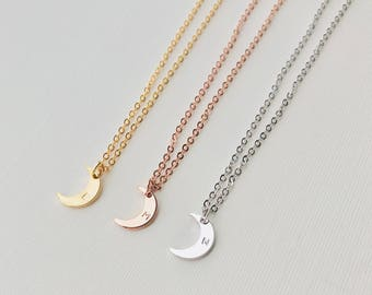 Moon Necklace   Crescent Moon   Moon Phase Necklace   Initial Necklace   Rose Gold   Gold   Silver   Everyday Necklace   Dainty Necklace