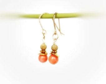 Peach Coral dangles,Coral dangles,Coral earrings,14 k Gold Fill coral earrings,Salmon coral earrings,everyday earrings,Coral jewelry