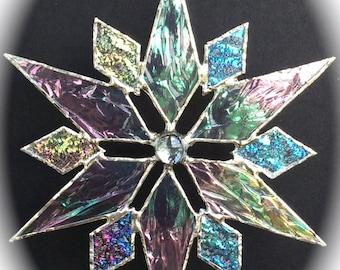 stained glass snowflake suncatcher  (design 8)