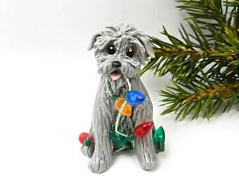 Glen of Imaal Terrier Porcelain Christmas Ornament Figurine Lights