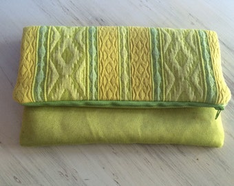 SALE Vintage Chartreuse Denim Polka dot Fold Over Clutch Purse