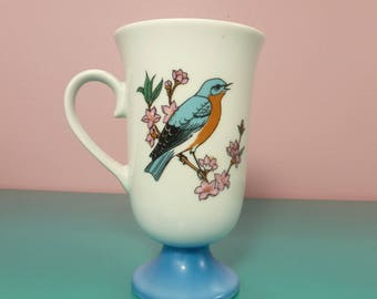 Vintage Fred Roberts Songbird Mugs Porcelain Pedestal Footed / 1960s Irish Coffee Mugs / Audubon Birder Gifts